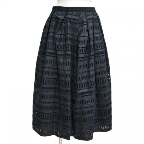 はしごレースミモレ丈スカートの写真